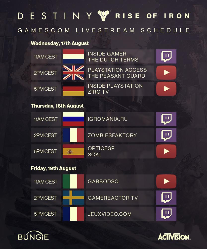 Gamescom Schedule
