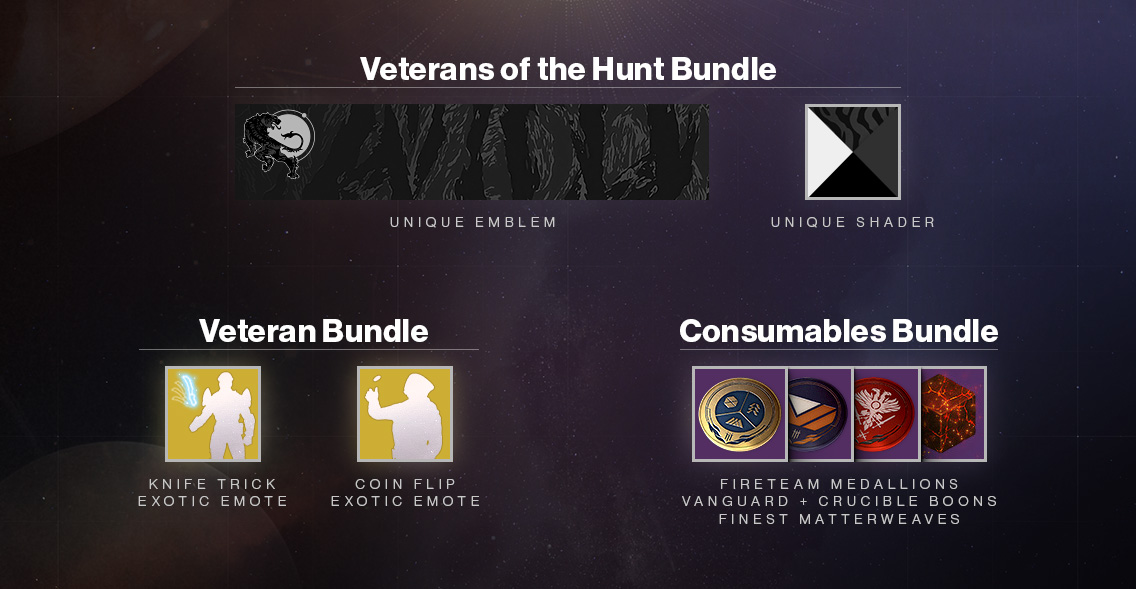 b57ef01e187 The Tiger Stripe Black Shader and Veterans Nameplate emblem are exclusive  to players who earn this bundle by playing Forsaken prior to October 16.