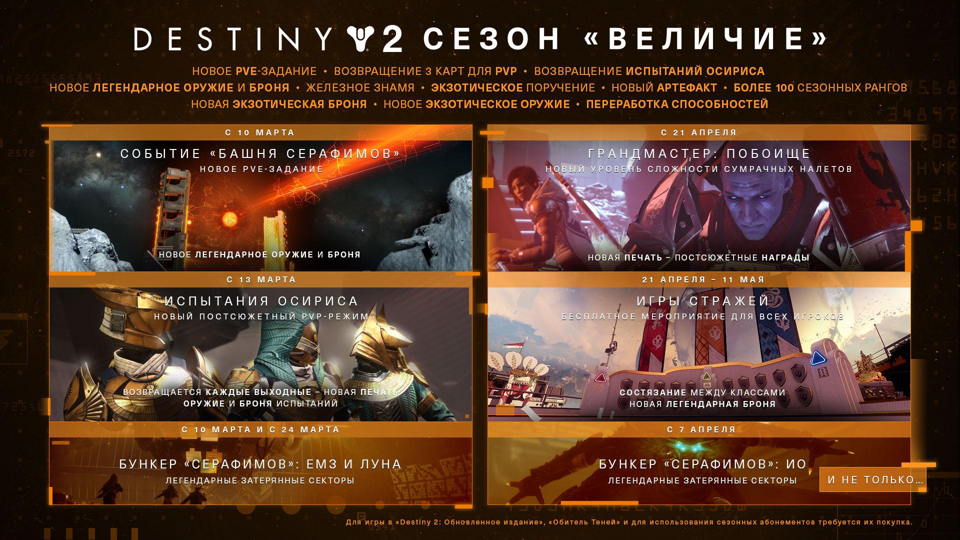 Destiny 2 — Приближается сезон «Величие»
