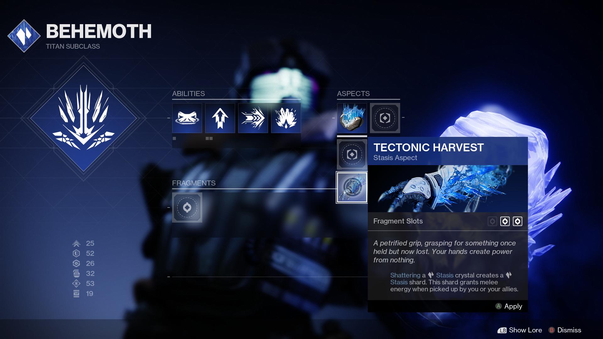 Titan Stasis Subclass aspects EN - Stasis Spotlight: Titan Behemoth