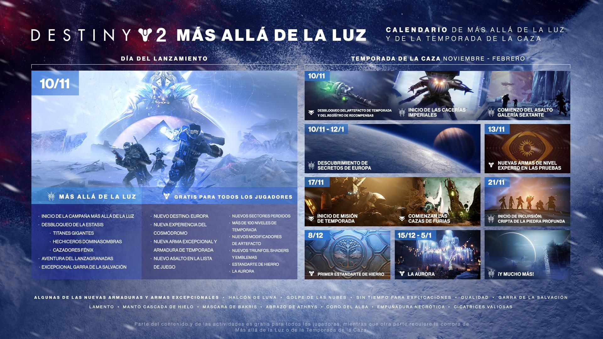Destiny 2: Más Allá de la Luz detalla la hoja de ruta de Temporada de Caza
