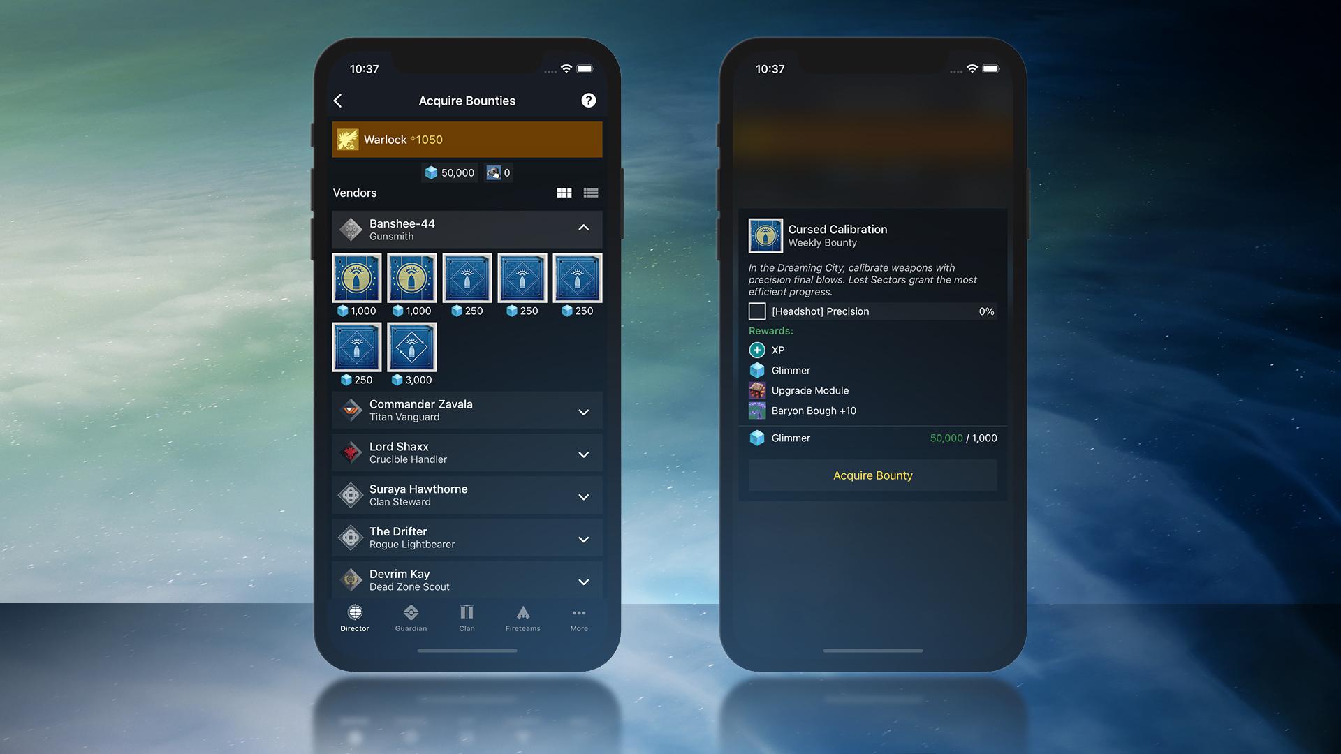 Campanion App Bounties EN - Next Gen, Companion App, Hawkmoon, and Prophecy